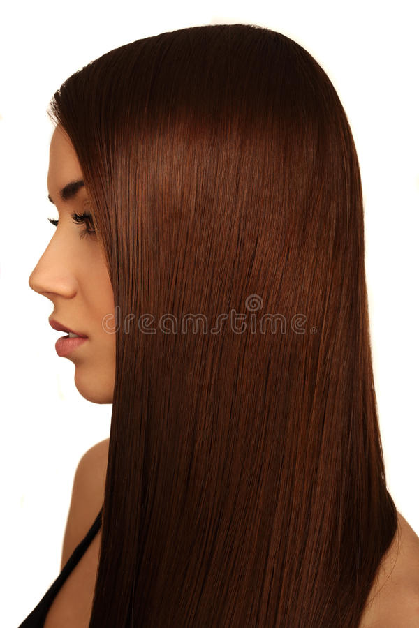Girl with long beautiful hair stock images