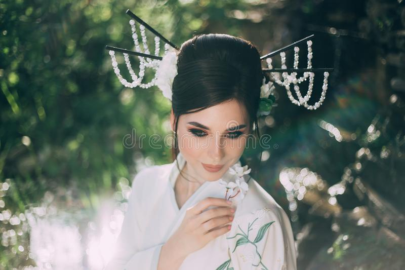 A girl with long, black hair decorated with Kandzashi, flowers and long pins with crystal beads. Portrait of a geisha royalty free stock photos