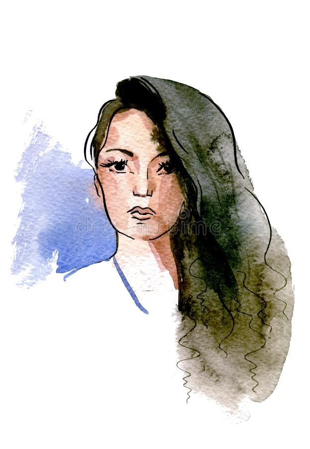 A girl with long black hair thrown over one shoulder royalty free illustration