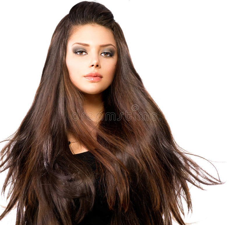 Girl with Long Blowing Hair. Fashion Model Girl Portrait with Long Blowing Hair royalty free stock images