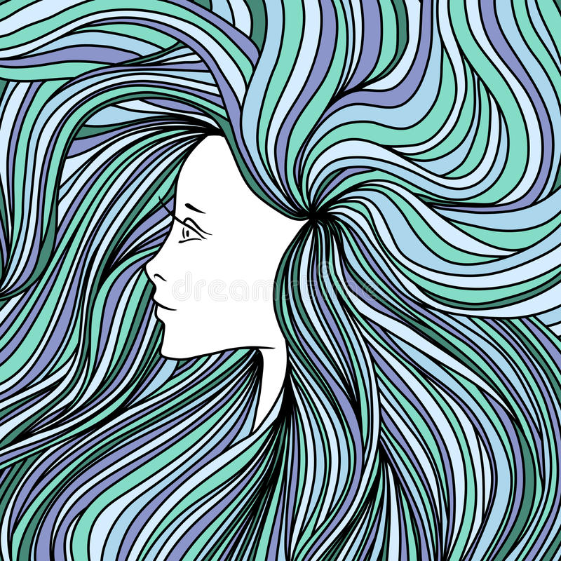 Girl with long green and blue hair. Vector illustration. stock photography