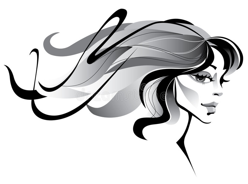 Girl with long hair royalty free illustration