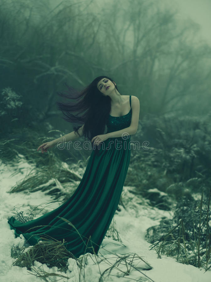 The girl with long hair. Art photography with an atmosphere of calm and melancholy. The girl with long hair is walking in the winter garden. She is dressed in a stock photo
