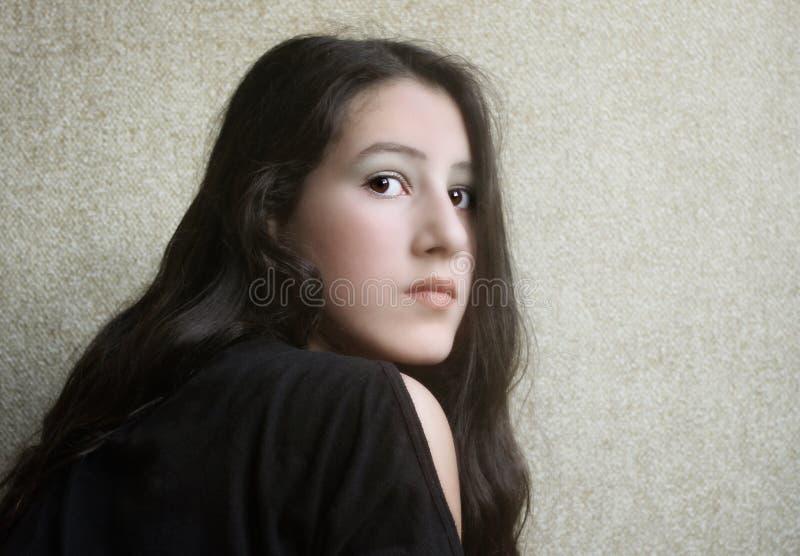 Girl with long hair royalty free stock photos