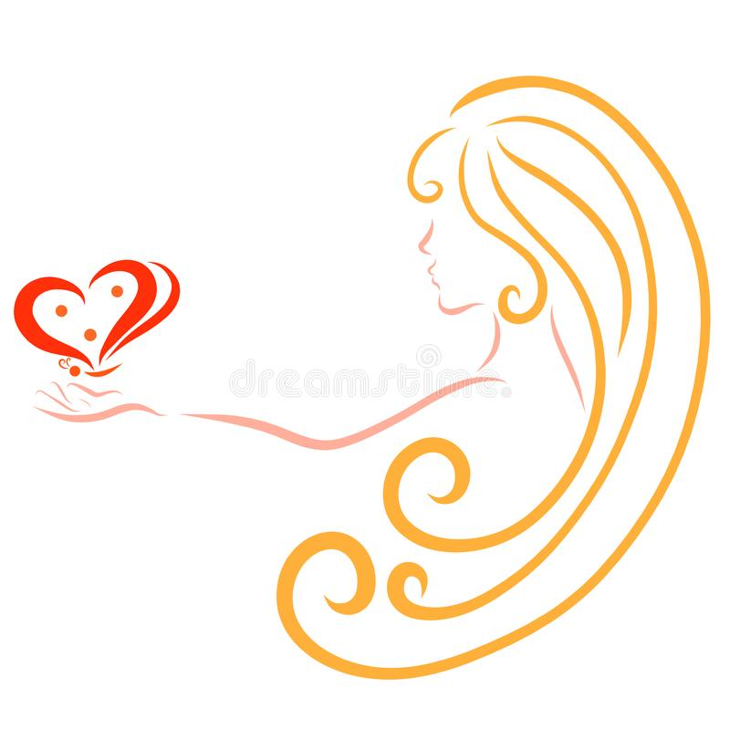 Girl with long hair and a butterfly in her hands, romance, logo.  royalty free illustration