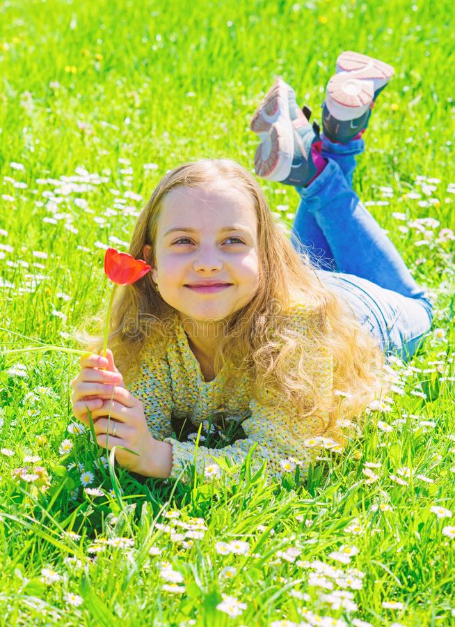 Girl with long hair lying on grassplot, grass background. Spring mood concept. Child enjoy spring sunny weather while. Lying at meadow. Girl on smiling face stock images
