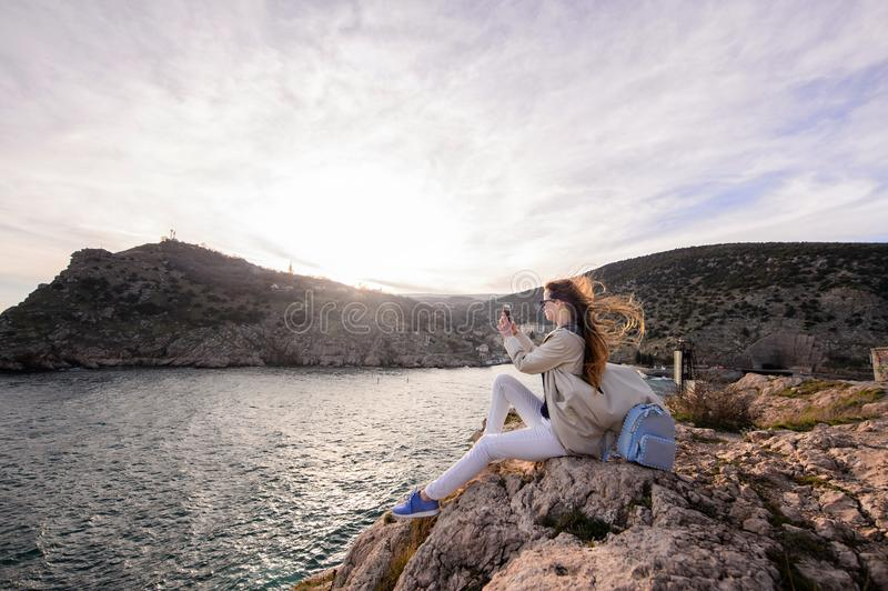 Beautiful girl outdoors. Spring day. stock images