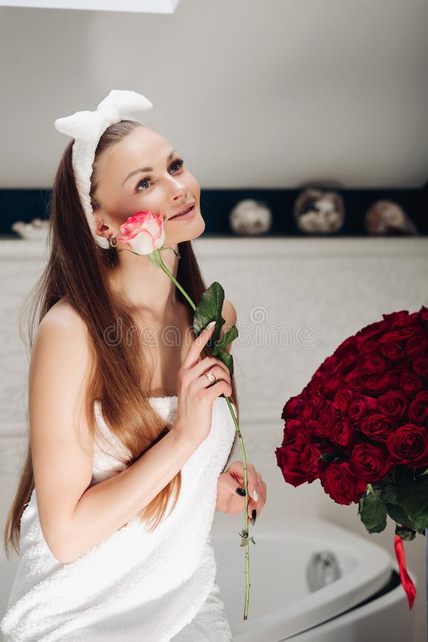 Pretty Young Girl Getting Flowers Stock Photo Image Of