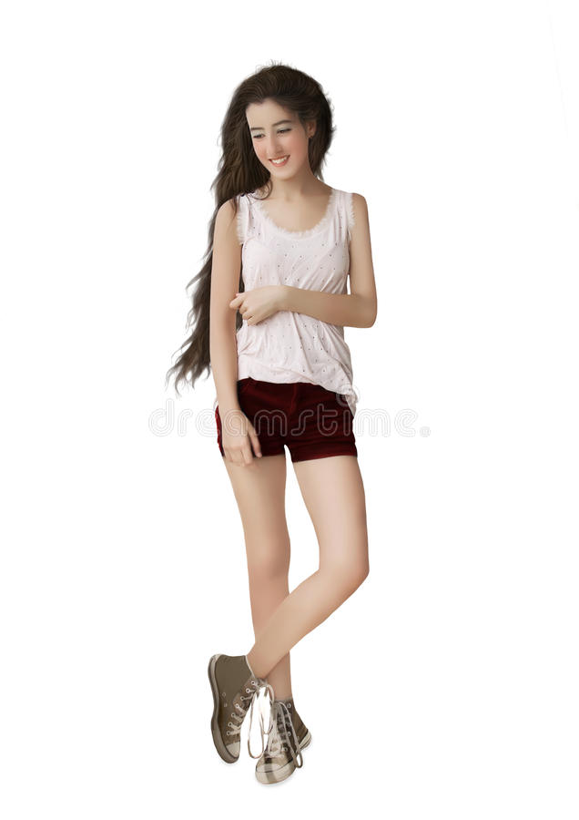 The girl with long hair royalty free stock photography