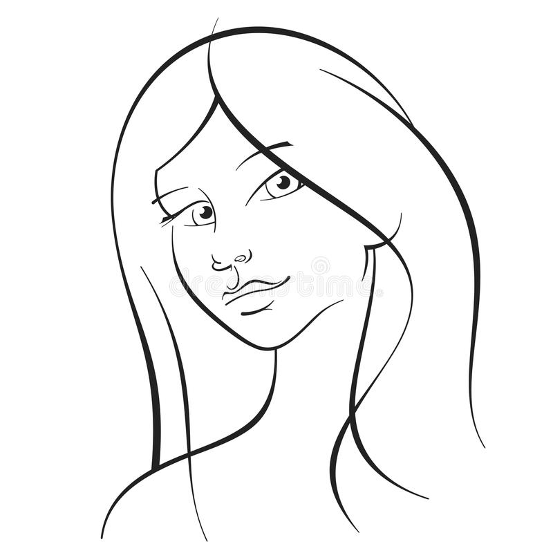 Download Girl with long  hair stock vector. Image of line, glamour - 31067348