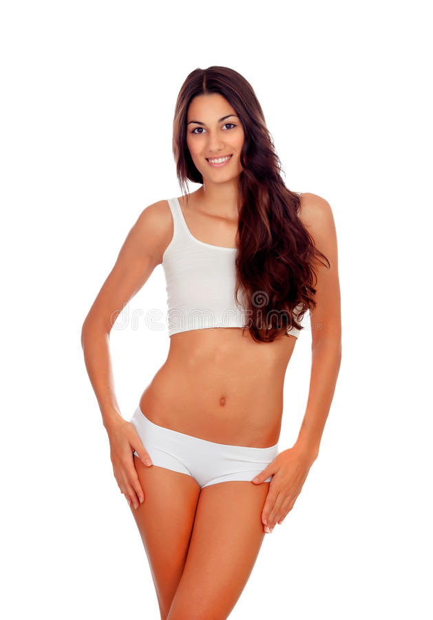 Girl With Long Hair In White Underwear Stock Photo