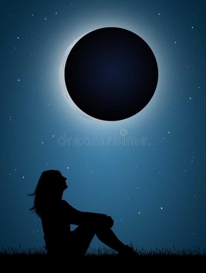 Girl look the eclipse. Illustration of girl look the eclipse royalty free illustration