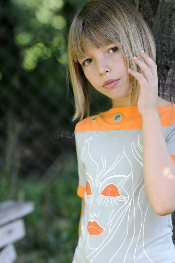 Girl looking stock photo