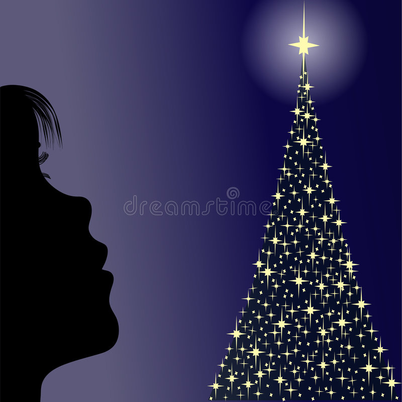 Download Girl Looking A Christmas Tree Stock Illustration - Illustration: 3553636