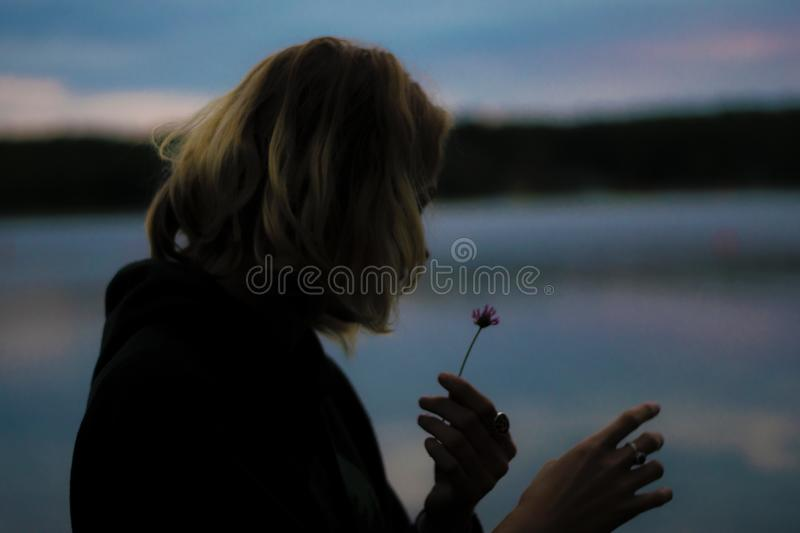 Girl looking at flower royalty free stock photo