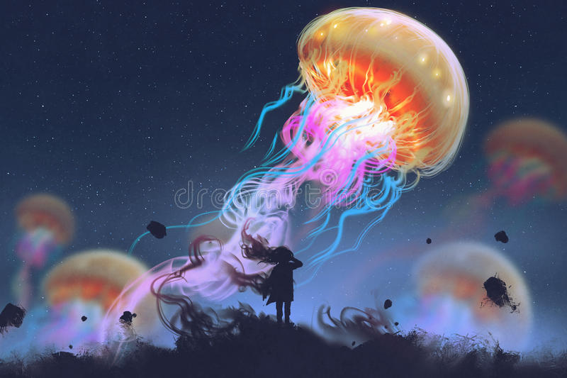 Girl looking at giant jellyfish floating in the sky. Silhouette girl looking at giant jellyfish floating in the sky, digital art style, illustration painting royalty free illustration
