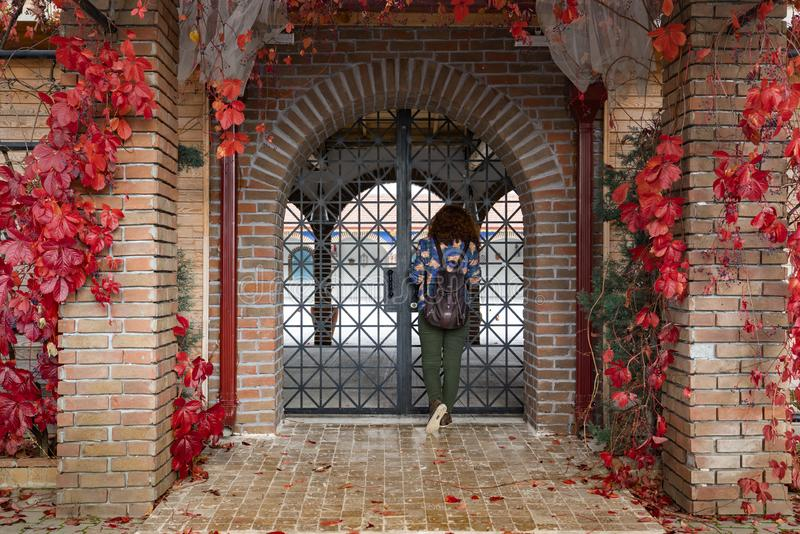 Girl looking inside from Decorative arched iron gateway through brick door. To a garden with decorated maiden grapes virginia creeper in fall royalty free stock photography