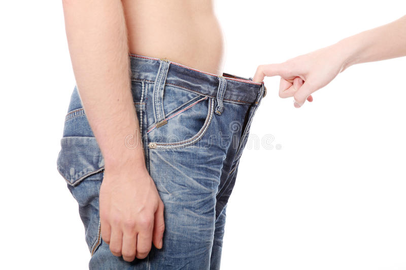 Download Girl Looking In Mens Pants. Stock Image - Image of copy, isolated: 17852123