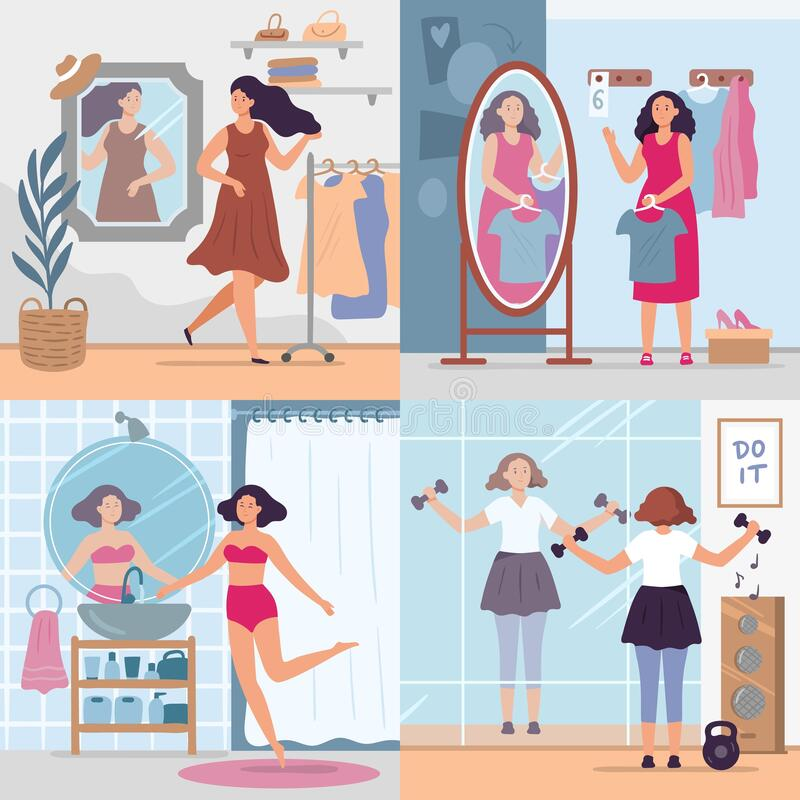 Girl looking in mirror. Women in stylish dressing room, bathroom and gym look in mirrors. Happy reflection in mirror. Vector illustration set. Woman looking to vector illustration