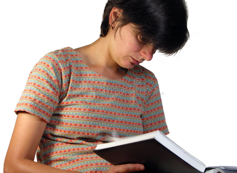 Download Girl looking in a notebook stock photo. Image of notebook - 240976