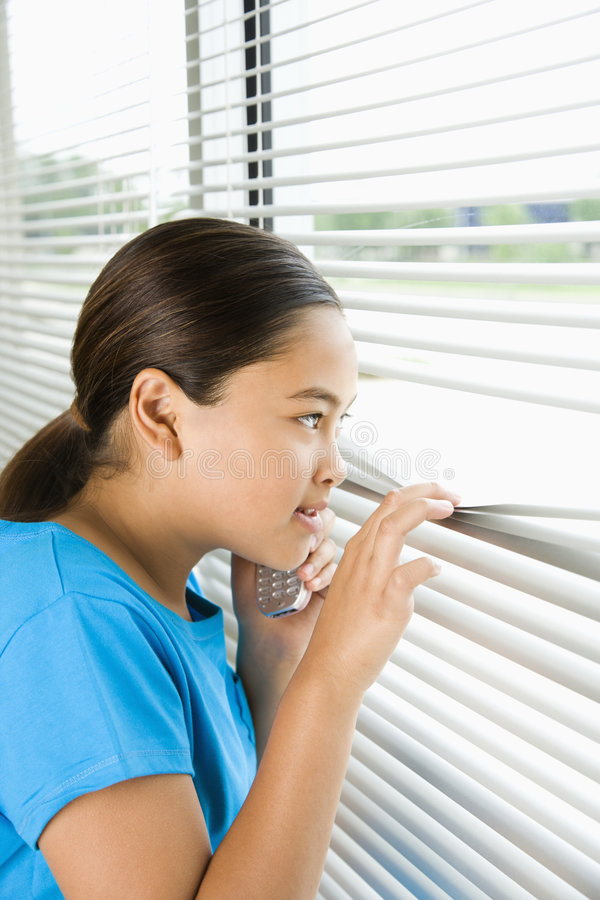 Download Girl looking out window. stock photo. Image of window - 3421652
