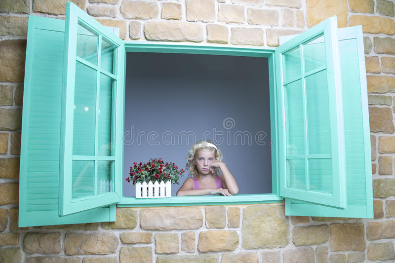 Download Girl looking out of window stock image. Image of looking - 33437257