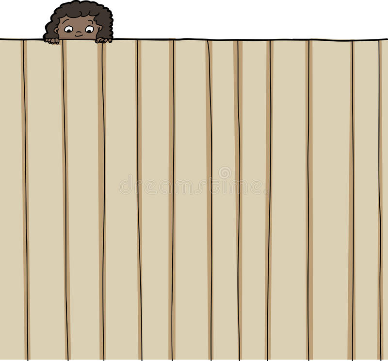 Girl Looking Over Fence vector illustration