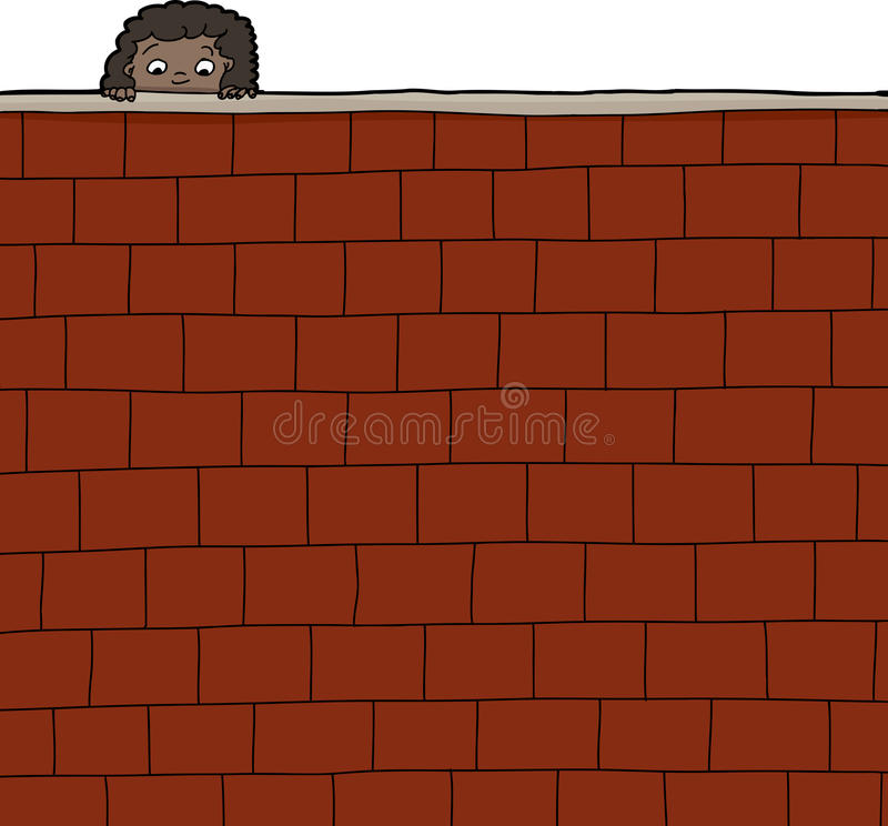 Girl Looking Over Wall vector illustration