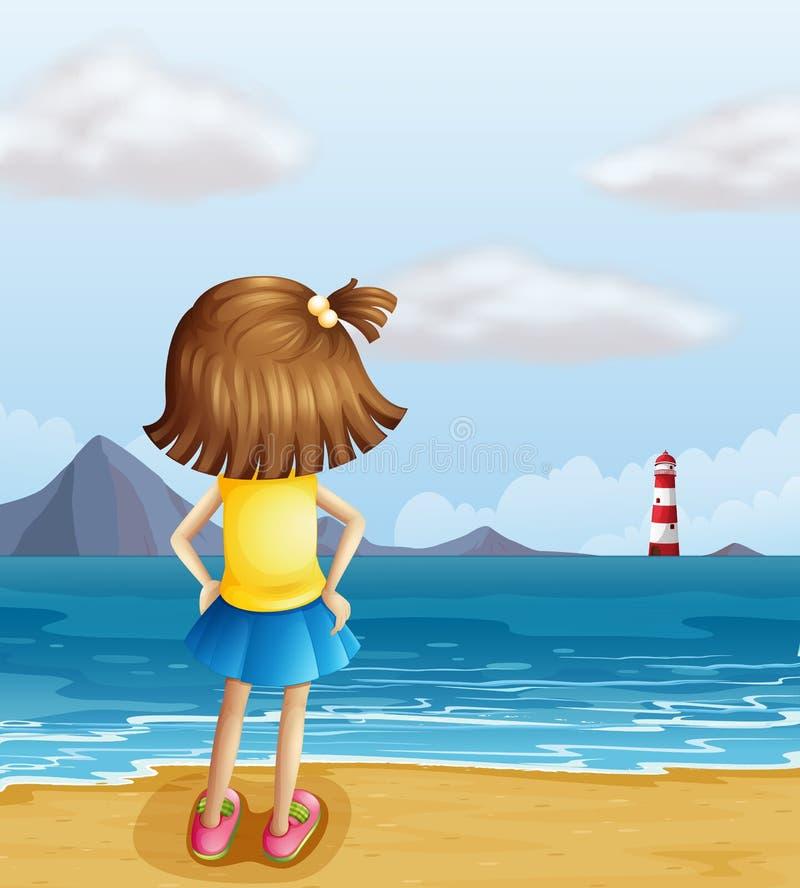 A girl looking at the parola royalty free illustration