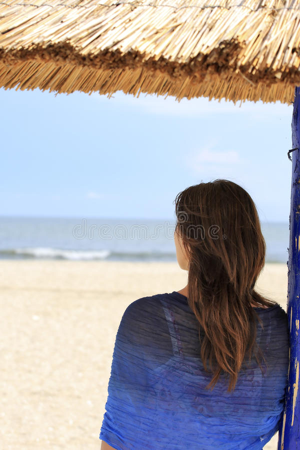 Download Girl looking at the sea stock photo. Image of ocean, skirt - 9461998