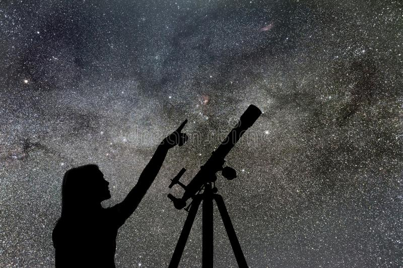 Girl looking at the stars. Telescope Milky Way stock photo