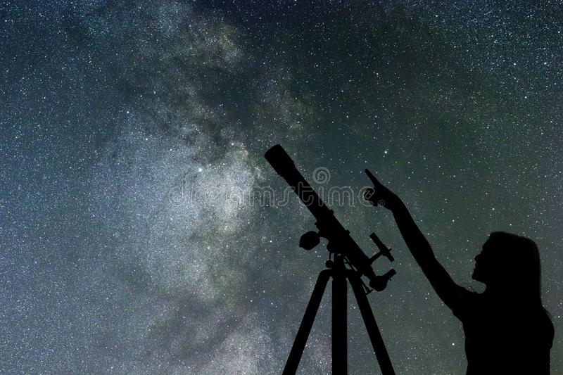 Girl looking at the stars. Telescope Milky Way stock image