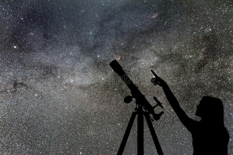 Girl looking at the stars. Telescope Milky Way royalty free stock photos