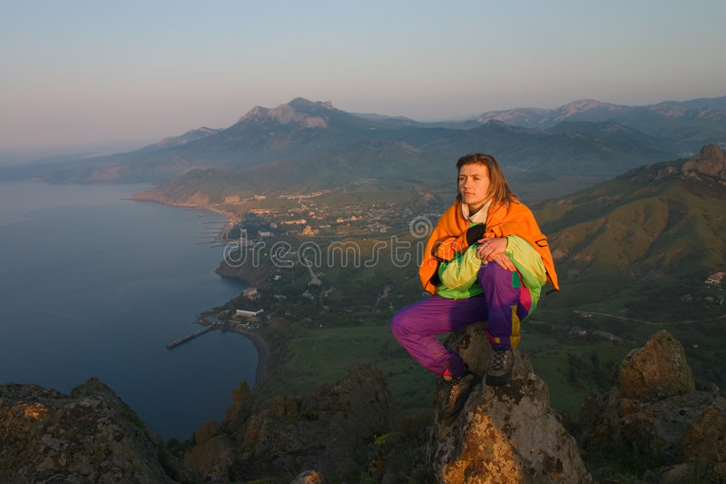 Download Girl looking on sunrise stock photo. Image of girl, cliff - 2102150