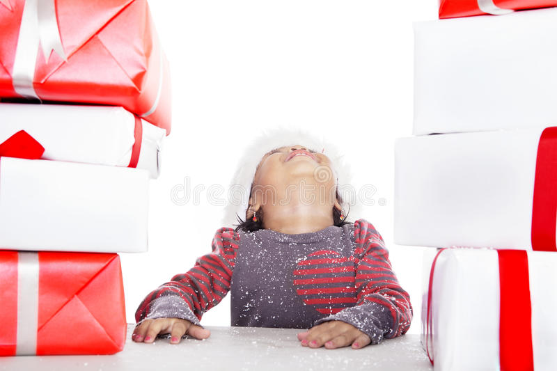 Download Girl Looking Up For Christmas Gifts Stock Image - Image: 27407205