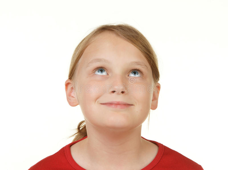 Download Girl Looking At White Copyspace Stock Photo - Image: 13136808