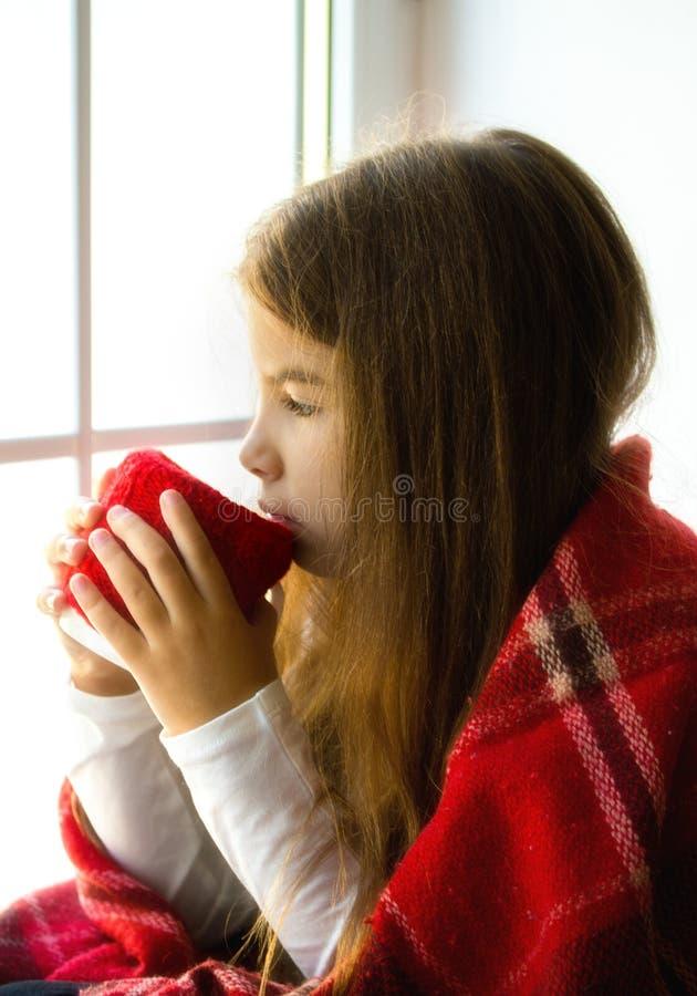 Girl looking window stock images