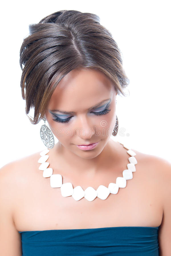 Download The girl looks downwards stock image. Image of makeup - 21809585