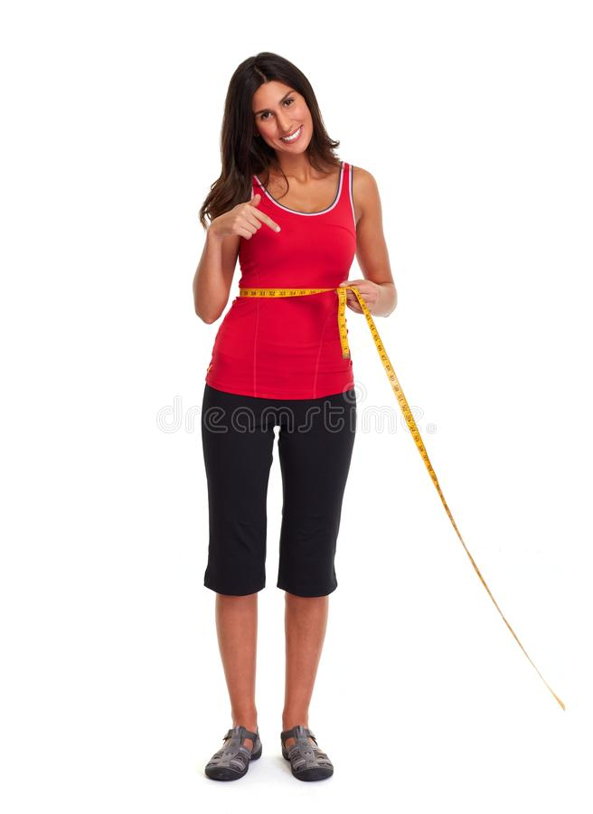 Girl losing weight. royalty free stock image