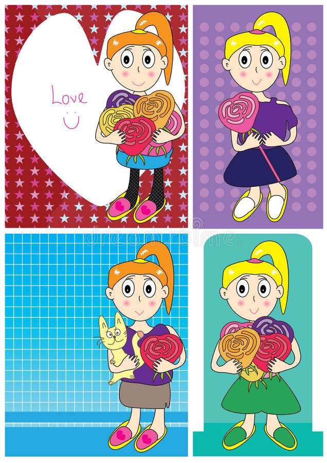 Download Girl Love Flower Card Set_eps Stock Vector - Image: 24137110