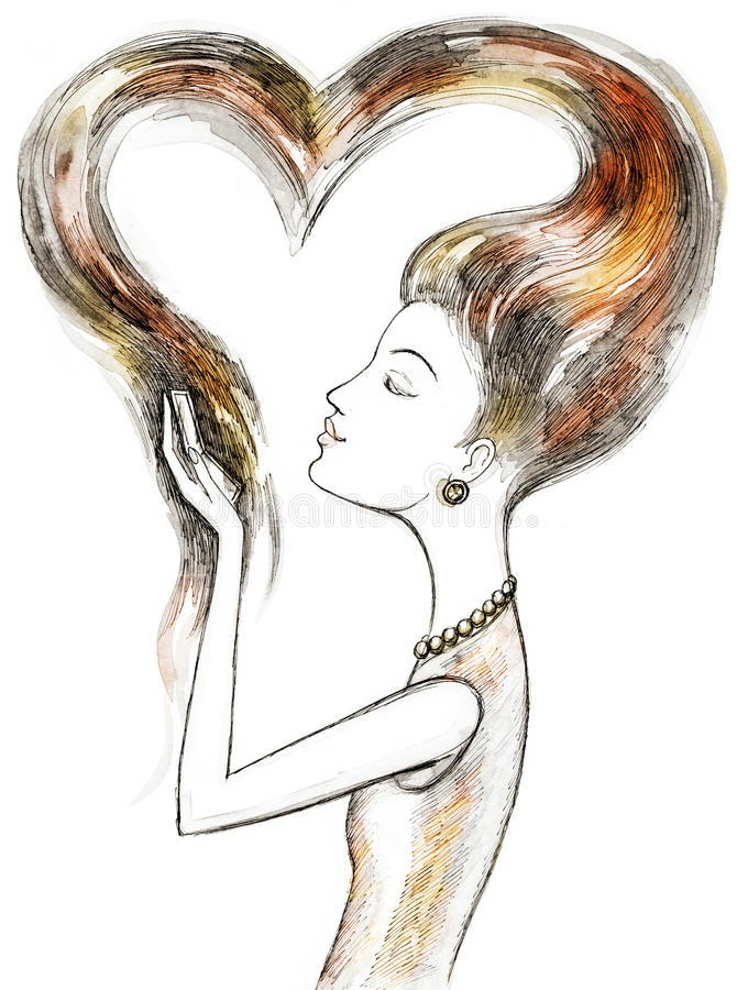 Girl in love with herself royalty free illustration