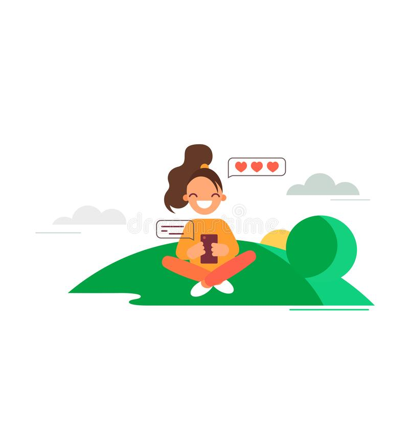 Girl loves chatting. Flat style vector illustration. Young woman seats on lawn and chats with someone she loves.  royalty free illustration