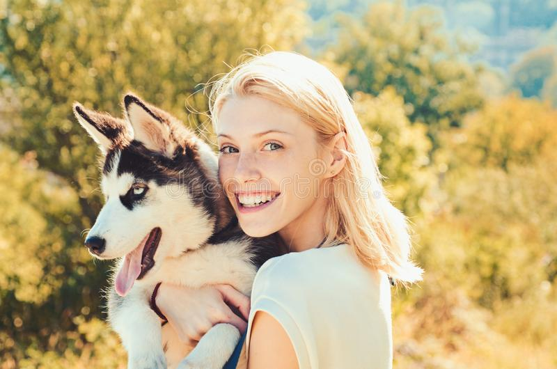 This girl loves her siberian husky. woman with dog pet on summer day. Happy girl hold pedigree dog. Happy dog owner. Play with family pet outdoor. Husky is for royalty free stock photo