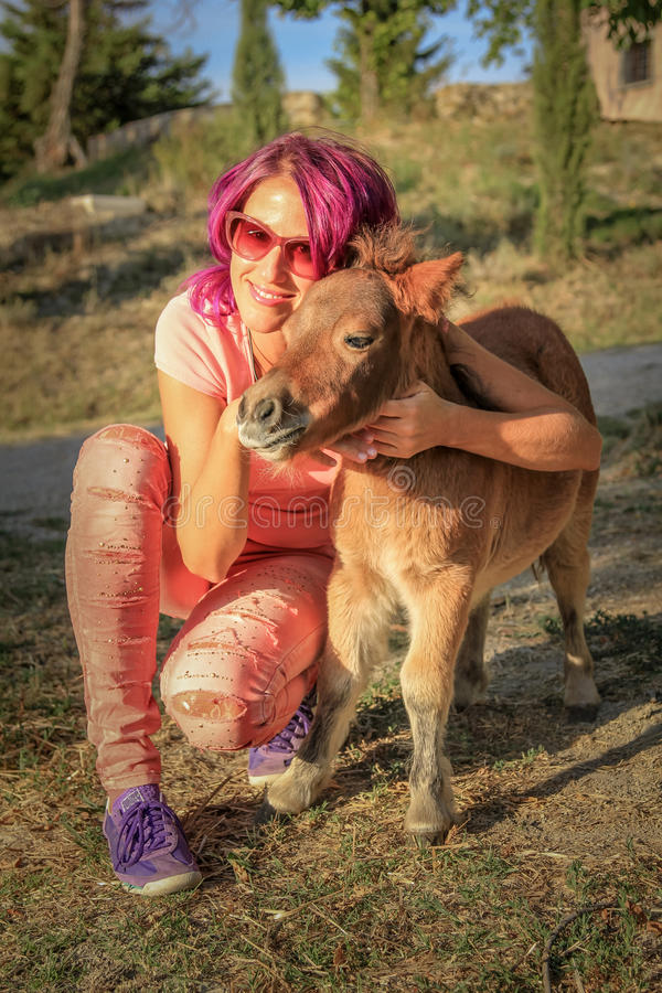 Smiling woman with pony royalty free stock photography