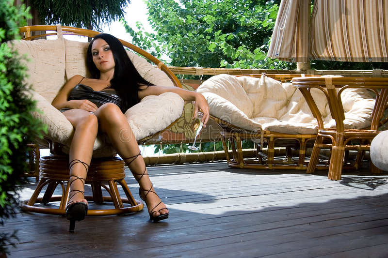Girl in luxury interior royalty free stock images