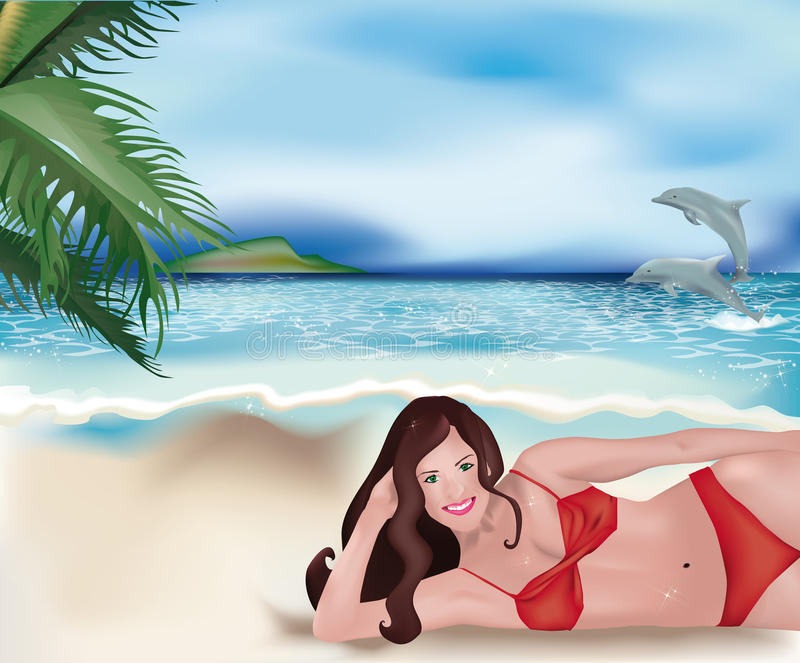 Download Girl Lying On Beach And Dolphins Stock Vector - Illustration of posing, jumping: 25174457
