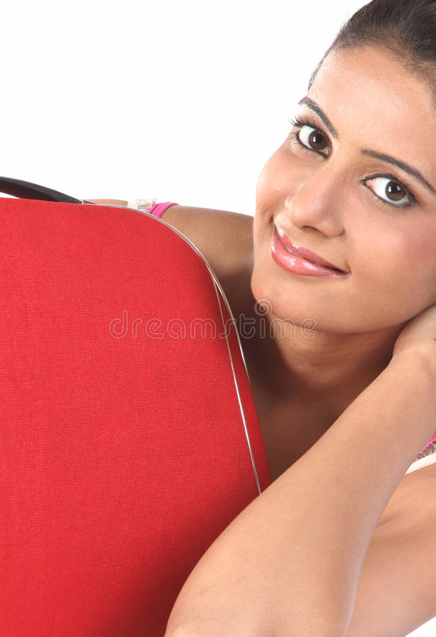 Download Girl Lying Behind The Red Suitcase Stock Photo - Image: 13317494