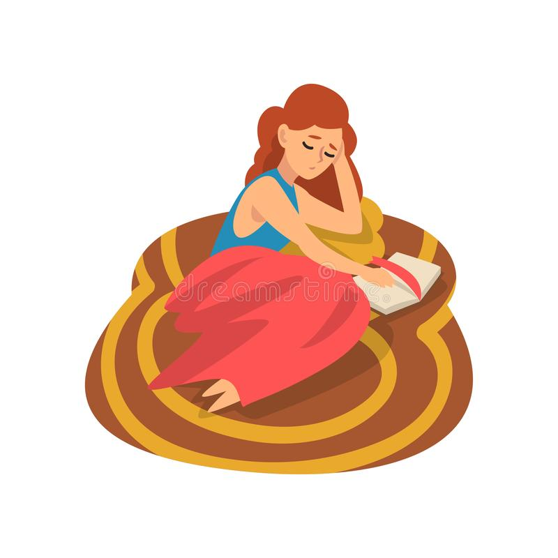 Girl Lying on Carpet on Floor and Reading Book, Young Woman Spending Weekend at Home and Relaxing, Rest at Home Vector royalty free illustration