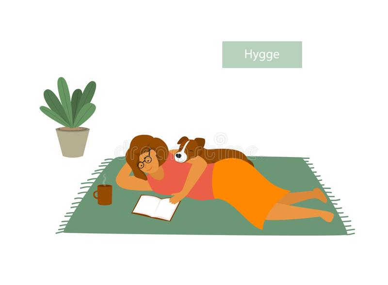 Girl lying down on the floor with her pet dog, reading a book, enjoying being home royalty free illustration