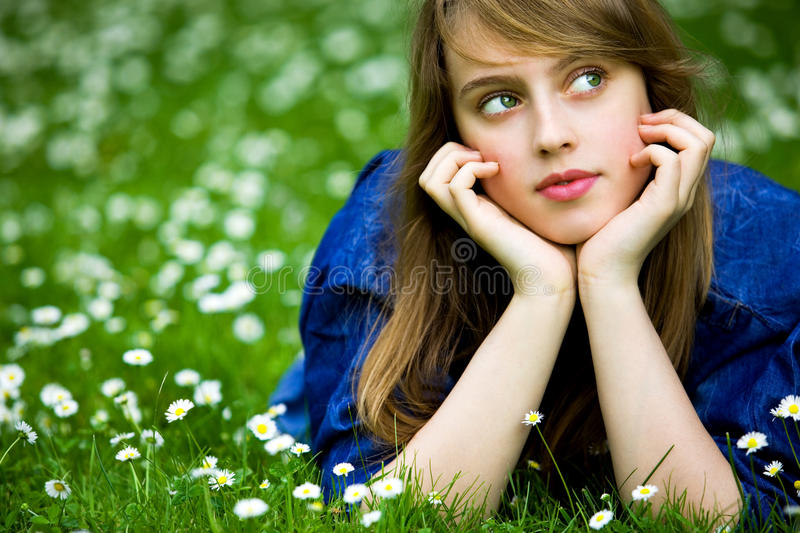 Download Girl lying on the grass stock image. Image of nature - 14852755